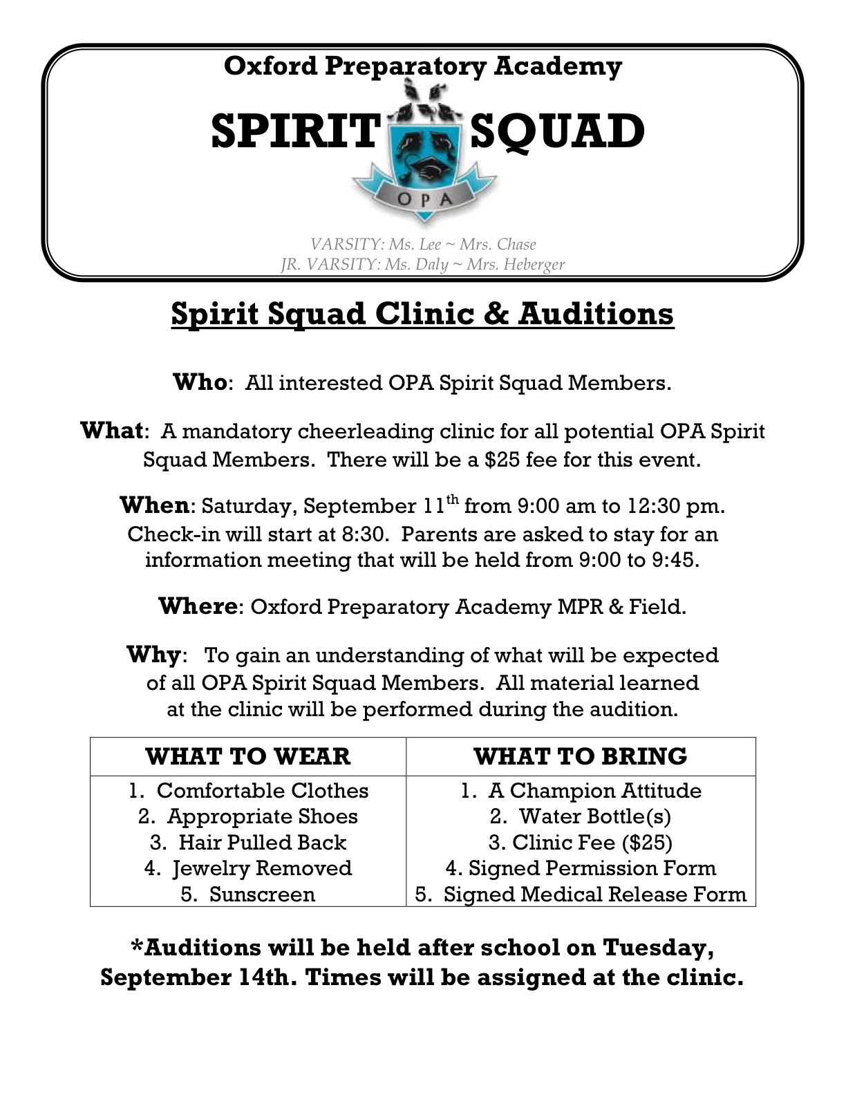 Spirit squad flyer